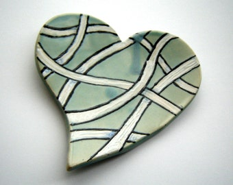 Zentangle Heart Dish - Tea Bag Holder - Spoon Rest – Turquoise Plate – Home Décor - Black and White