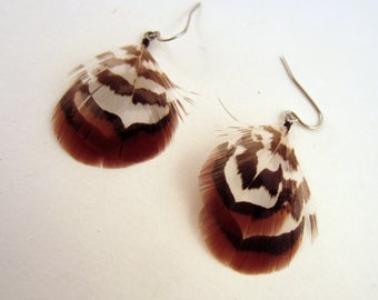natural short Feather Earrings Reeves Pheasant