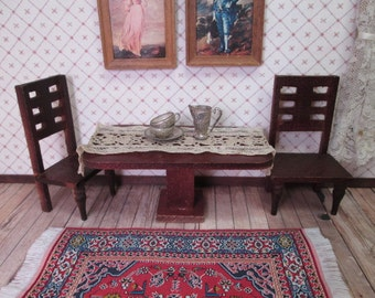 """Antique Dollhouse Furniture - Parlor Table and Two Chairs - Small 1"""" Scale"""