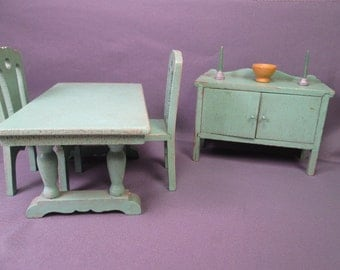 Strombecker Wooden Dollhouse Green Dining Room Furniture - Large One Inch Scale