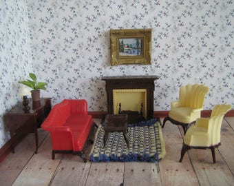 Vintage Dollhouse Furniture - RENWAL Living Room Set in 3/4 Scale -  7 Pieces