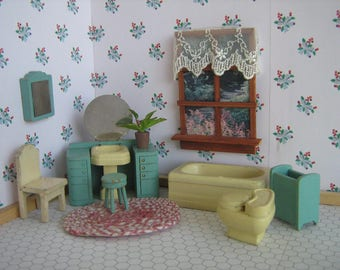 Vintage Dollhouse Furniture - 1930s Strombecker 8 Piece Bathroom Furniture in Turquoise  - 3/4 Scale