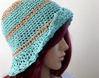 Flower Child Sunhat -  in Yashi  - Exclusive Linen Yarn - Summer Cool Bucket Hat - Women Girl Teen - Beach - Seafoam Stripe Tan