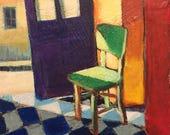 "Back Door - Original Acrylic Oil Encaustic Interior Painting- 10"" x 10"""