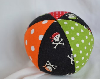 Baby Toy Cloth Ball PIRATE Skulls Jingle Ball