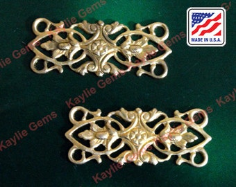 Filigree Stamping Floral Victorian Baroque 4 Way Connector Victorian USA -G5412 - 2pcs