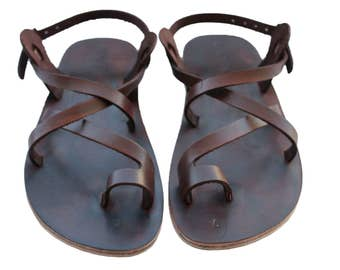 Dark Brown Roxy All Leather Sandals for Men & Women - ALL LEATHER SOLES - Handmade Unisex Sandals, Jesus Sandals, Genuine Leather Sandals