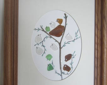 Sea Glass, Beach Glass , Hand Painted Bird in a Nest Picture