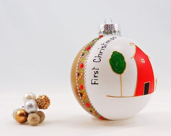 First Christmas in new home ornament - Hand painted personalized glass ornament