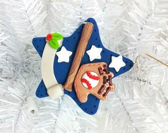 Gift for Him - Baseball Christmas Ornament - Handmade Polymer Clay Baseball Ornament - Baseball Stocking Stuffer - Baseball Coach - 1278