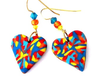 Multicolored heart earrings, birthday gift for her, primary colors polymer clay, mod 1960s hippie, boho chic, bohemian orange and blue