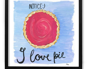 art print, original art, Kitchen art, Gouache Painting, gifts for bakers, gift for mom, Painting of Pie, wall art