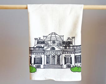 Virginia Monticello Tea Towel. Charlottesville Illustration. Kitchenwares Dish and Barware. Perfect Housewarming Gift for your UVA Cavalier.