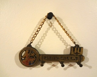 Vintage Jerusalem Key Holder Wall Hanging Souvenir Brass 3 Inches Long X 4 Inches Wide Some Wear