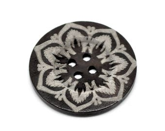"Extra large button - 3 wooden button 60mm (2 3/8"") - flower pattern  #BB160E"