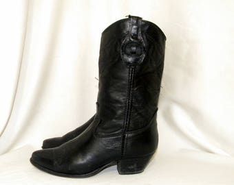 Sz 6.5W Vintage Mid calf Black Leather 1980s Women Laredo western style cowboy boots.