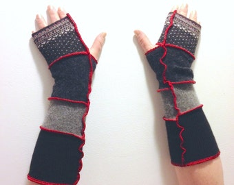 Red, Black and Grey Recycled Cashmere and Lambswool Arm Warmers Fingerless Gloves