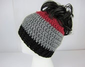 Messy Bun Hat, Crochet Messy Bun Beanie, Black Grey Burgandy, Womens messy bun hat, Girls Juniors teen,  Aggie hat, Hog hat …