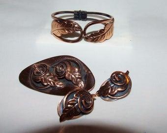 Leaf Swirl Copper Demi- Parure Clamper Cuff Bracelet -Clip Earrings- Large Oval Brooch-Modernist 1065