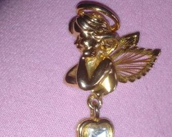 Angel Cherub Brooch dangle heart Pin Marked AAi