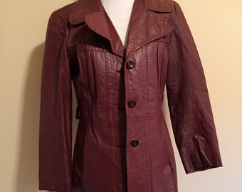 Brown Leather Jacket, Vintage Macy's Ladies Brown Leather Blazer Size 12, Vintage Leather Coat, Women's Outerwear, Fall Coat on SALE