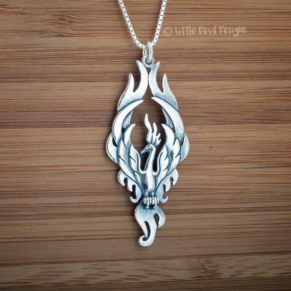 Phoenix Pendant - STERLING SILVER - Double Sided - (Pendant or Necklace)