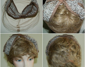60s Vintage Veiled Juliet Cap Head Band Hair Net Babys Breath Floral and Taupe Trim