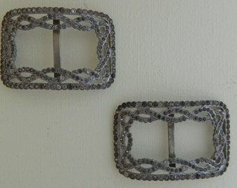 1910s Edwardian Foster Shoe Clips Rhinestone Shoe Buckles As Is
