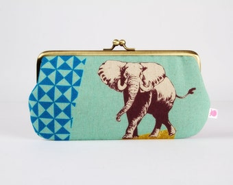 Frame purse with two sections - Elephant and lion on turquoise blue - Wowlet / Kisslock wallet / Japanese fabric / Echino / brown purple