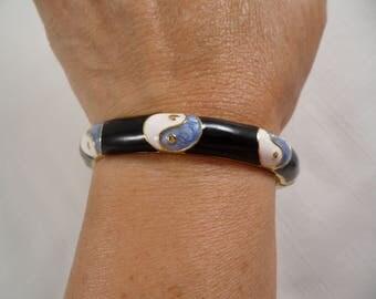 Gorgeous Gold Tone Blue White Enamel Hinged Bangle Bracelet