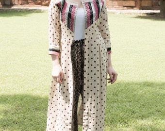 Long Ivory color Polka dots print Jute Front Open Cover up Jacket jaquard yoke easy wear