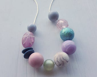 aura - necklace - vintage remixed lucite - pastels soft colors watercolors