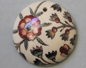 "1"" Heirloom Vines - Domed Circle Pendant - Ceramic Focal Pendant"