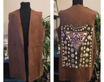 Suede jacket Brown with Afghan crafts