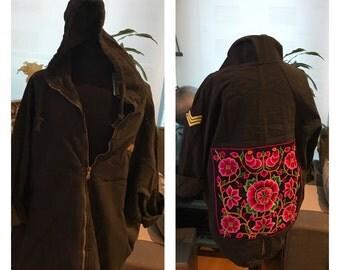 Black cotton jacket with hood