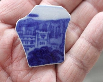 AWESOME BEACHGLASS POTTERY Beautiful Double sided patterens   Genuine Pottery shard zy301