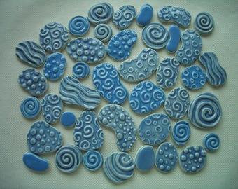 42BL - GORGEOUS BLUES Stamped Circles - Ceramic Mosaic Tile Set