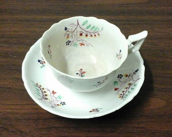 Staffordshire Sprig Porceain Teacup and Saucer