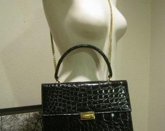 Vintage Mad Men black moc croc Kelly handbag, structured black embossed alligator boxy purse, Bellestone single handle retro black purse