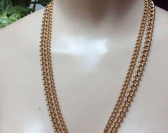 """Vintage goldtone Monet double chain necklace, polished goldtone double chains Monet necklace, 21-24"""" polished goldtone small links chains"""