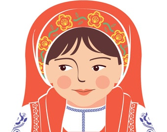 Portuguese Wall Art Print with culturally traditional dress drawn in a Russian matryoshka nesting doll shape