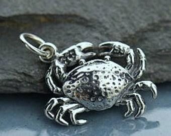 Sterling Silver Crab Charm, Nautical Ocean Pendants, 21x13x3mm, 1 pc