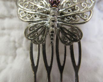 Vintage Butterfly Hair Comb with Pink Rhinestone