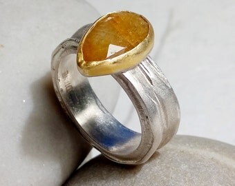 Natural sapphire pear shape  rose cut  set in solid 22k gold on sterling silver band,one of a kind engagement ring, wedding or cocktail ring