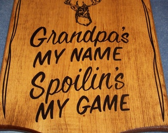 Personalized GRANDPA Sign, Great GIFT IDEA!  With Deer or Fish