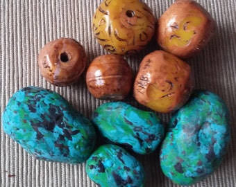 Polymer Clay beads, faux amber and faux turquoise beads, raw bead, scrap beads