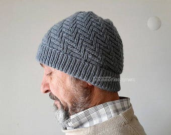 Unisex Design Hat, Gray Hat, Knit Men and Women Hat, Knitted hat