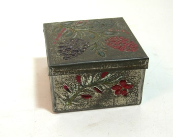 Vintage Embossed Tin Box, Rustic Tin Trinket Box