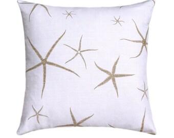 Starfish Decorative STUFFED Throw, Nautical Seastar Throw Pillow, Starfish Pillow, Beach Pillow, Tan White Pillow, Accent Pillow Free Ship