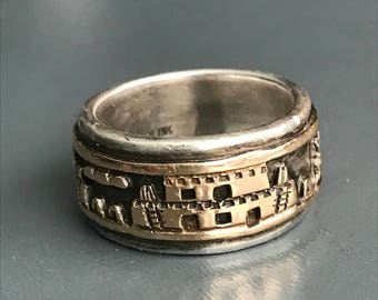 Vintage Navajo Indian Ring  .  Sterling Silver. Gold . Village Scene . Bruce Morgan  jewelry
